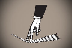 Composite image of fingers walking on tighrope Royalty Free Stock Photography
