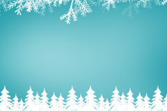 Composite image of fir tree forest and snowflakes Stock Photo