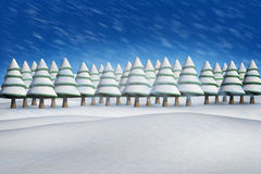 Composite image of fir trees in snowy landscape. With snow falling Stock Image