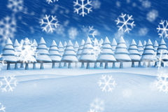 Composite image of fir trees in snowy landscape. With snow falling Royalty Free Stock Photo