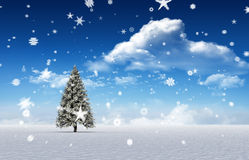Composite image of fir trees in snowy landscape. With snow falling Stock Photo