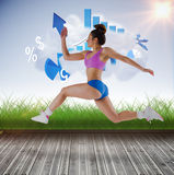 A Composite image of fit brunette running and jumping Royalty Free Stock Photos