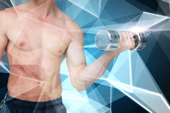 Composite image of fit shirtless man lifting dumbbell Royalty Free Stock Images