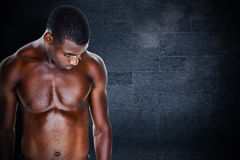 Composite image of fit shirtless young man Stock Photos