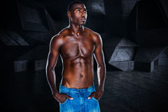 Composite image of fit shirtless young man Royalty Free Stock Photos