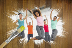 Composite image of fitness class at the gym Royalty Free Stock Photography