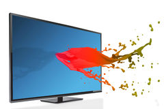 Composite image of flat screen television. Flat screen television against pink paint splashes and drops vector illustration