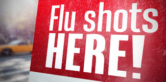 Composite image of flu shots here Stock Photography
