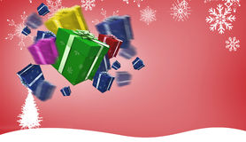 Composite image of flying christmas presents Royalty Free Stock Photography