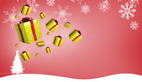 Composite image of flying christmas presents Royalty Free Stock Photos