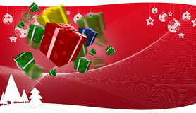 Composite image of flying christmas presents Stock Photos