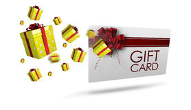 Composite image of flying christmas presents. Flying christmas presents against gift card with festive bow Stock Photos