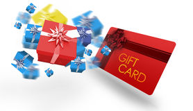 Composite image of flying christmas presents. Flying christmas presents against gift card with festive bow Stock Images