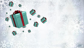 Composite image of flying christmas presents Royalty Free Stock Photo
