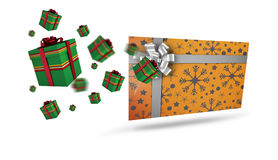 Composite image of flying christmas presents Royalty Free Stock Image