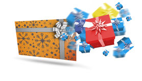 Composite image of flying christmas presents Stock Photo