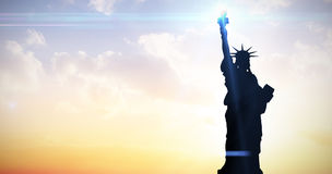 Composite image of focus on liberty statue Royalty Free Stock Photo