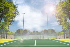 Composite image of focus of tennis field Stock Photo