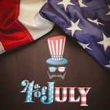 Composite image of focus on 4th july. Focus on 4th july against white background with vignette Stock Illustration