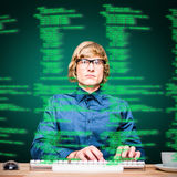 Composite image of focused hipster businessman using computer Stock Photo
