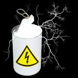 Can of electricity. Composite image of a food can, half opened, containing light and electricity, and displaying a yellow high-voltage symbol on the label.  See Royalty Free Stock Images