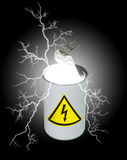 Can of electricity. Composite image of a food can, half opened, containing light and electricity, and displaying a yellow high-voltage symbol on the label.  See Royalty Free Stock Photo