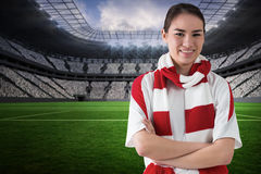 Composite image of football fan in white wearing scarf Royalty Free Stock Photos
