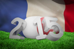 Composite image of france rugby 2015 message. France rugby 2015 message against close-up of waving france flag Stock Photography
