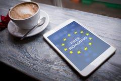 Composite image of free roaming text on european union flag Royalty Free Stock Photos