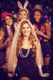Composite image of friends celebrating bachelorette party Stock Images