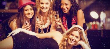 Composite image of friends celebrating bachelorette party Royalty Free Stock Photography