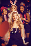 Composite image of friends celebrating bachelorette party Royalty Free Stock Photo