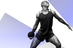 Composite image of front view of sportsman practising discus throw Stock Photo