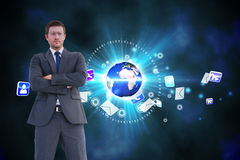Composite image of frowning businessman looking at camera Royalty Free Stock Images