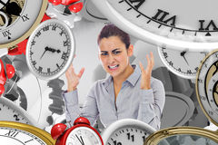 Composite image of frustrated businesswoman shouting Royalty Free Stock Images