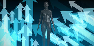 Composite image of full length of black 3d woman. Full length of black 3d woman against shiny arrows on black background Royalty Free Stock Photos