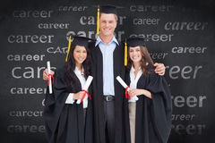 Composite image of full length of three friends graduate from college together Stock Images