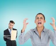Composite image of furious businesswoman gesturing Stock Photos