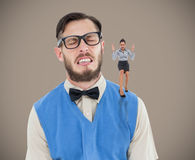 Composite image of furious businesswoman gesturing Royalty Free Stock Photo
