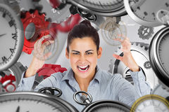 Composite image of furious businesswoman gesturing Royalty Free Stock Image