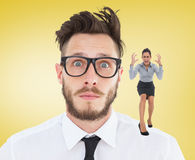 Composite image of furious businesswoman gesturing Royalty Free Stock Images