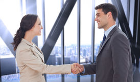 Composite image of future partners shaking hands Royalty Free Stock Photos