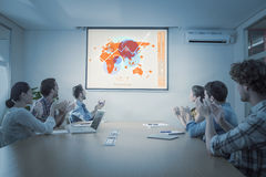 Composite image of futuristic interface with the world map Stock Photography
