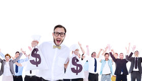 Composite image of geeky businessman holding money bags Stock Image