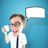 Composite image of geeky businessman holding mug Stock Images