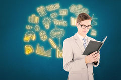 Composite image of geeky businessman reading black book Royalty Free Stock Image