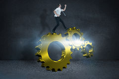 Composite image of geeky businessman running late Royalty Free Stock Images