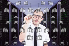 Composite image of geeky businessman writing with marker Stock Images