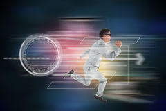 Composite image of geeky happy businessman running mid air Royalty Free Stock Images
