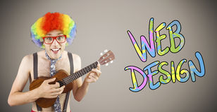 Composite image of geeky hipster in afro rainbow wig playing guitar. Geeky hipster in afro rainbow wig playing guitar against grey background with vignette Stock Photo